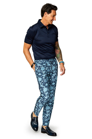 David August Slim Fit Tapered White with Red Black & Gold Floral Print Cotton Trousers - Cut-to-Order