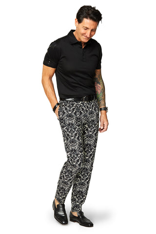David August Slim Fit Tapered White With Lemon Print Cotton Trousers - Cut-to-Order