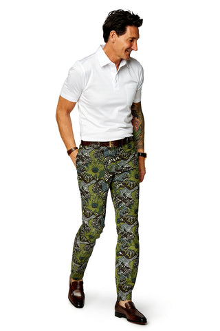 David August Slim Fit Tapered Black & Off White Geo Snake Cotton Trouser - Cut-to-Order