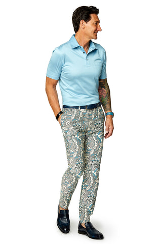 David August Slim Fit Tapered Olive Floral Camo Cotton Trouser - Cut-to-Order