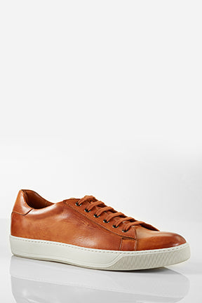 Santoni Acadia Brown Leather and Suede Sneaker