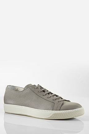 Santoni Cleanic Grey Pebble Grain Leather Sneaker