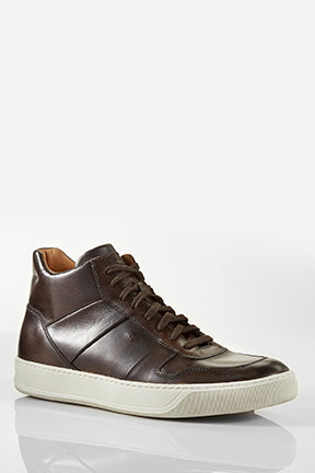 Santoni Ash Hightop Dark Chocolate Leather Sneaker