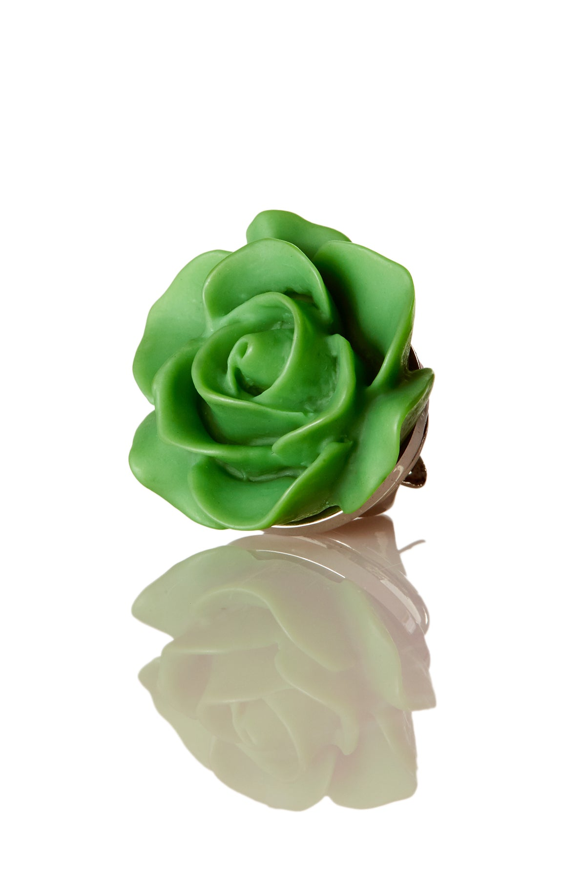 David August Open Rose Green Lapel Pin