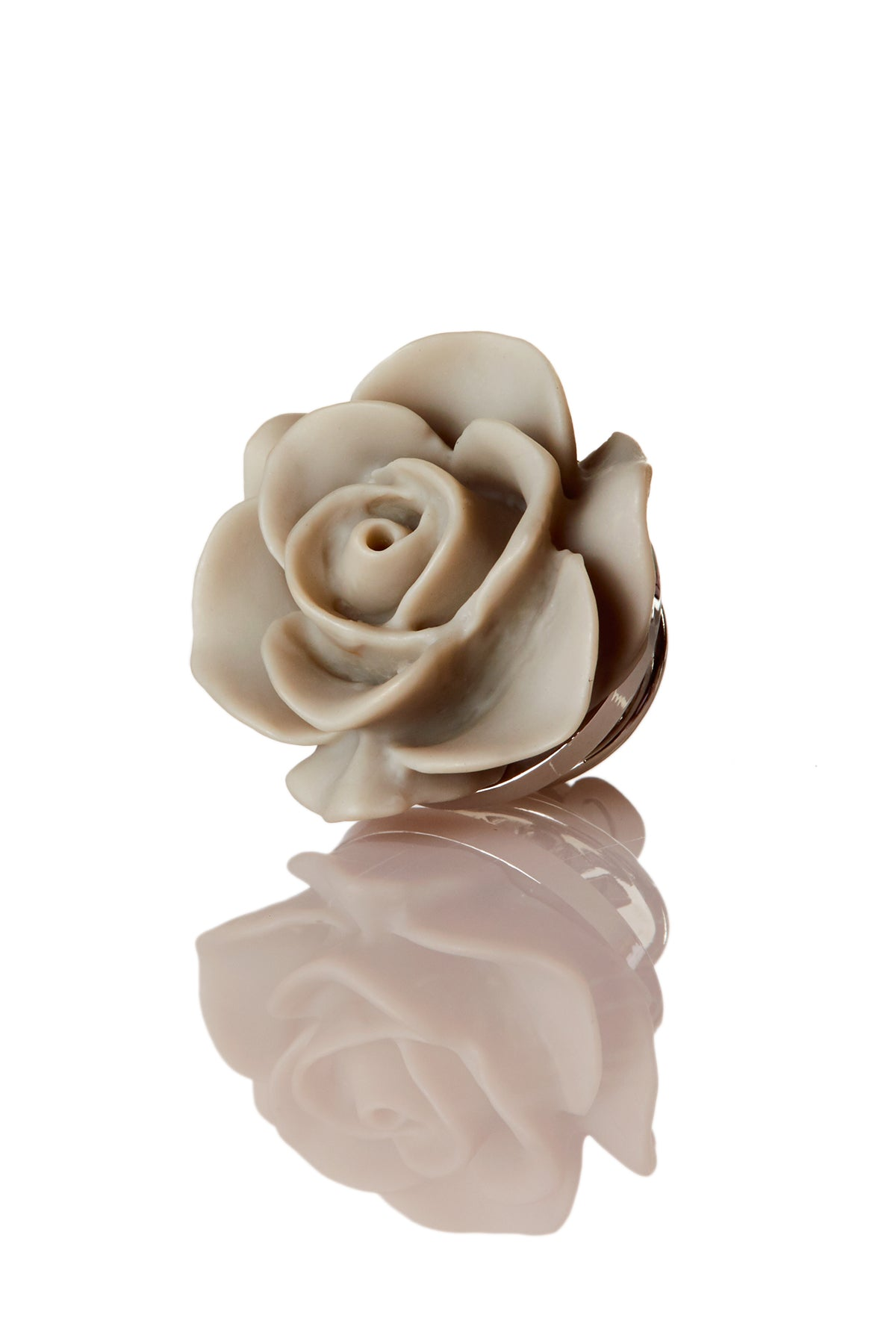 David August Open Rose Grey Lapel Pin