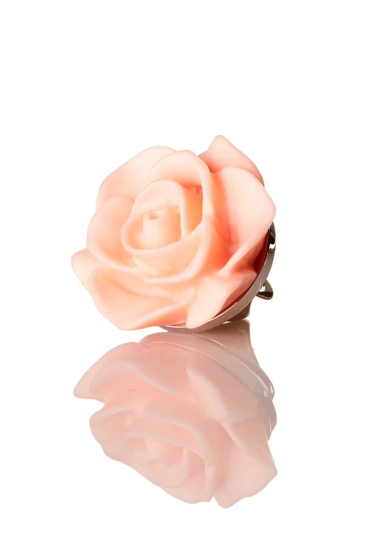 David August Open Rose Peach Lapel Pin