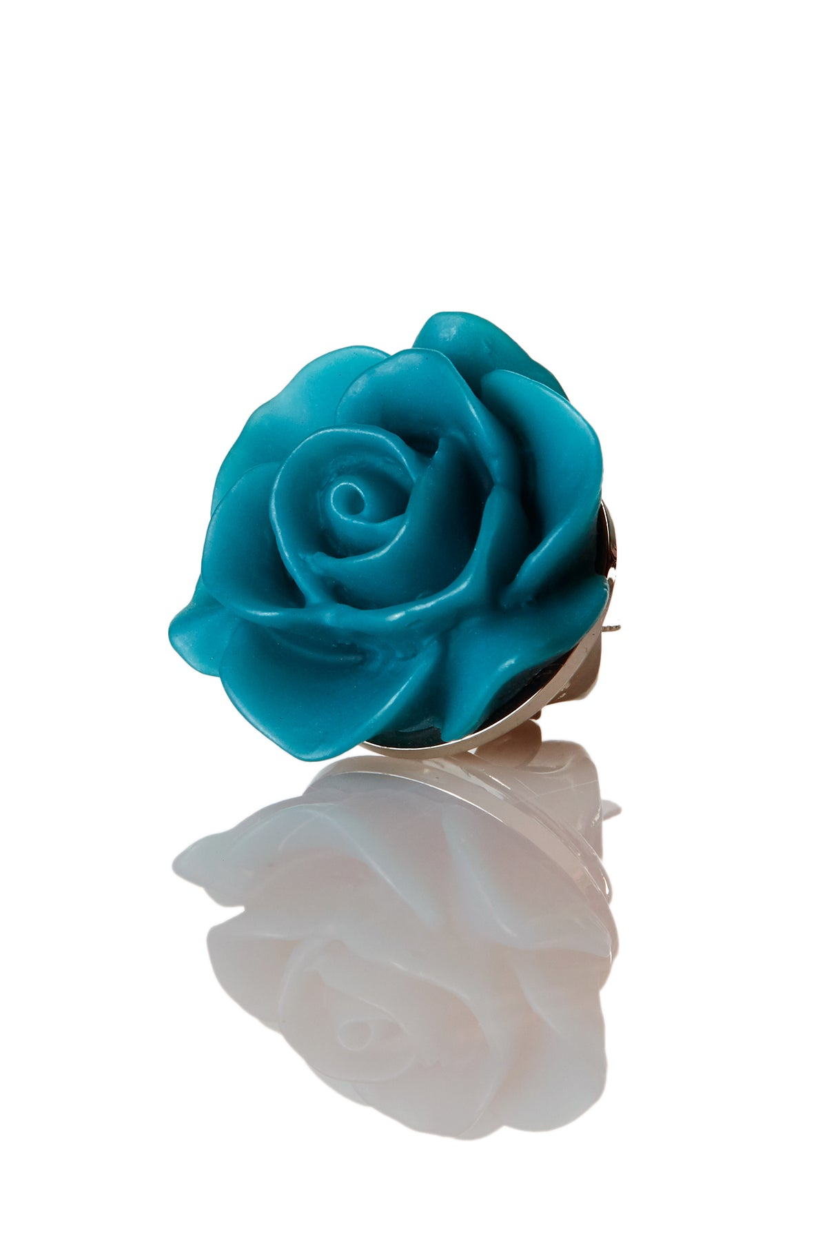 David August Open Rose Petrol Lapel Pin