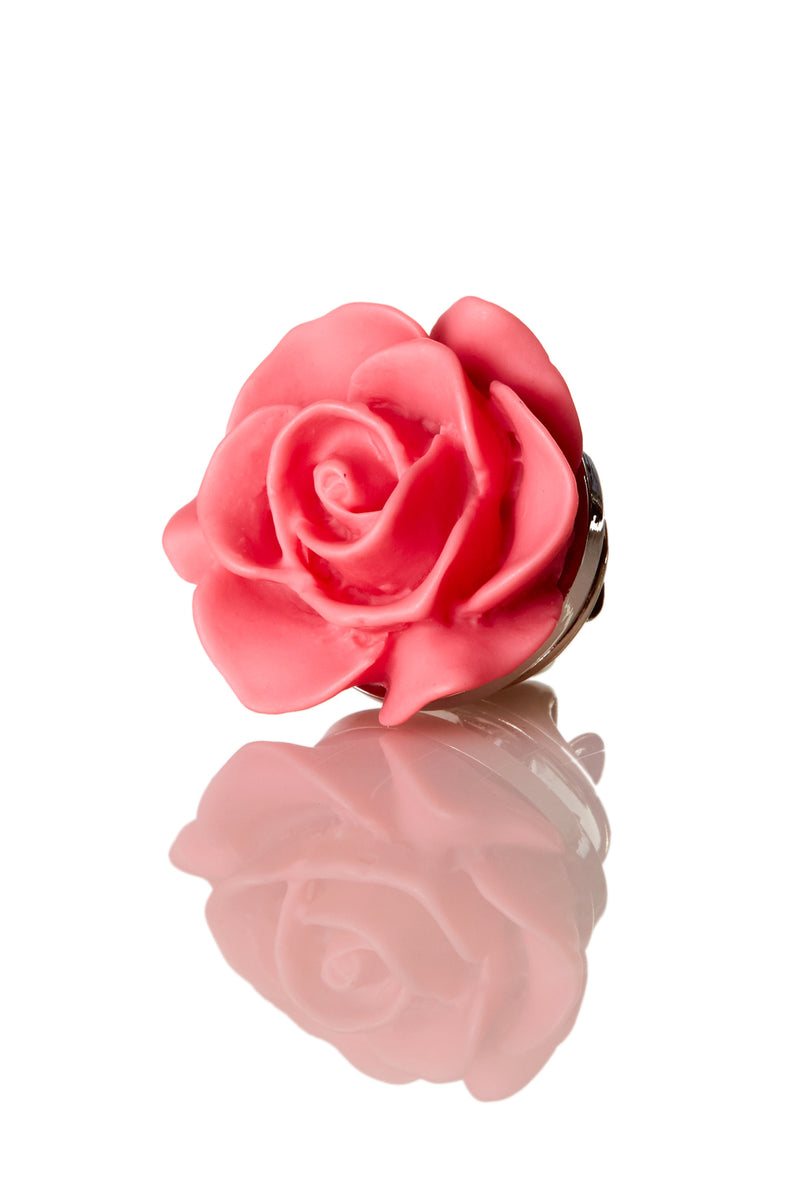 David August Open Rose Pink Lapel Pin
