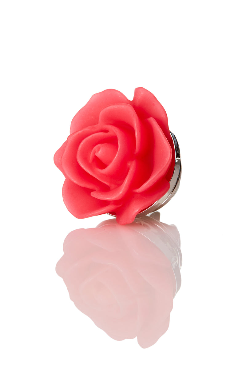 David August Open Rose Red Lapel Pin