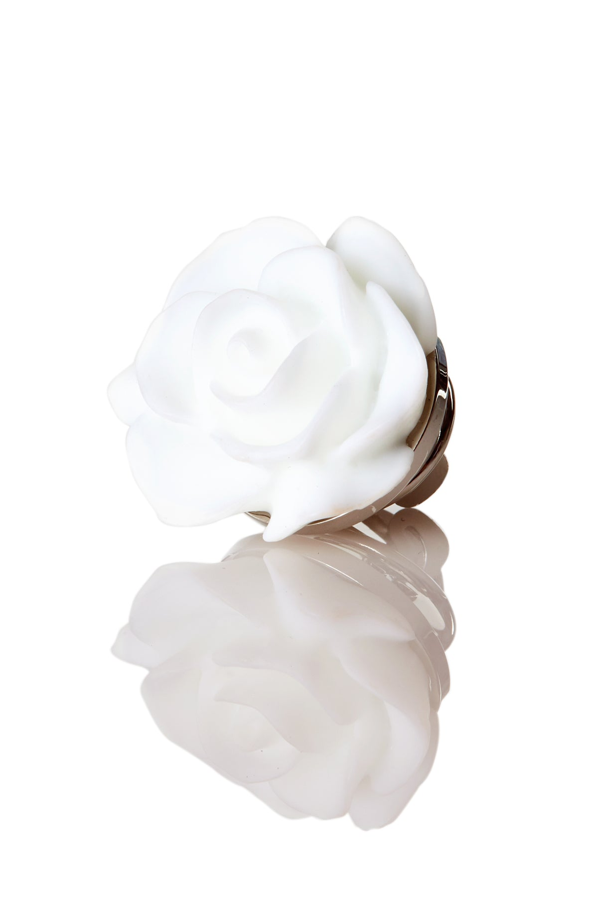 David August Open Rose White Lapel Pin