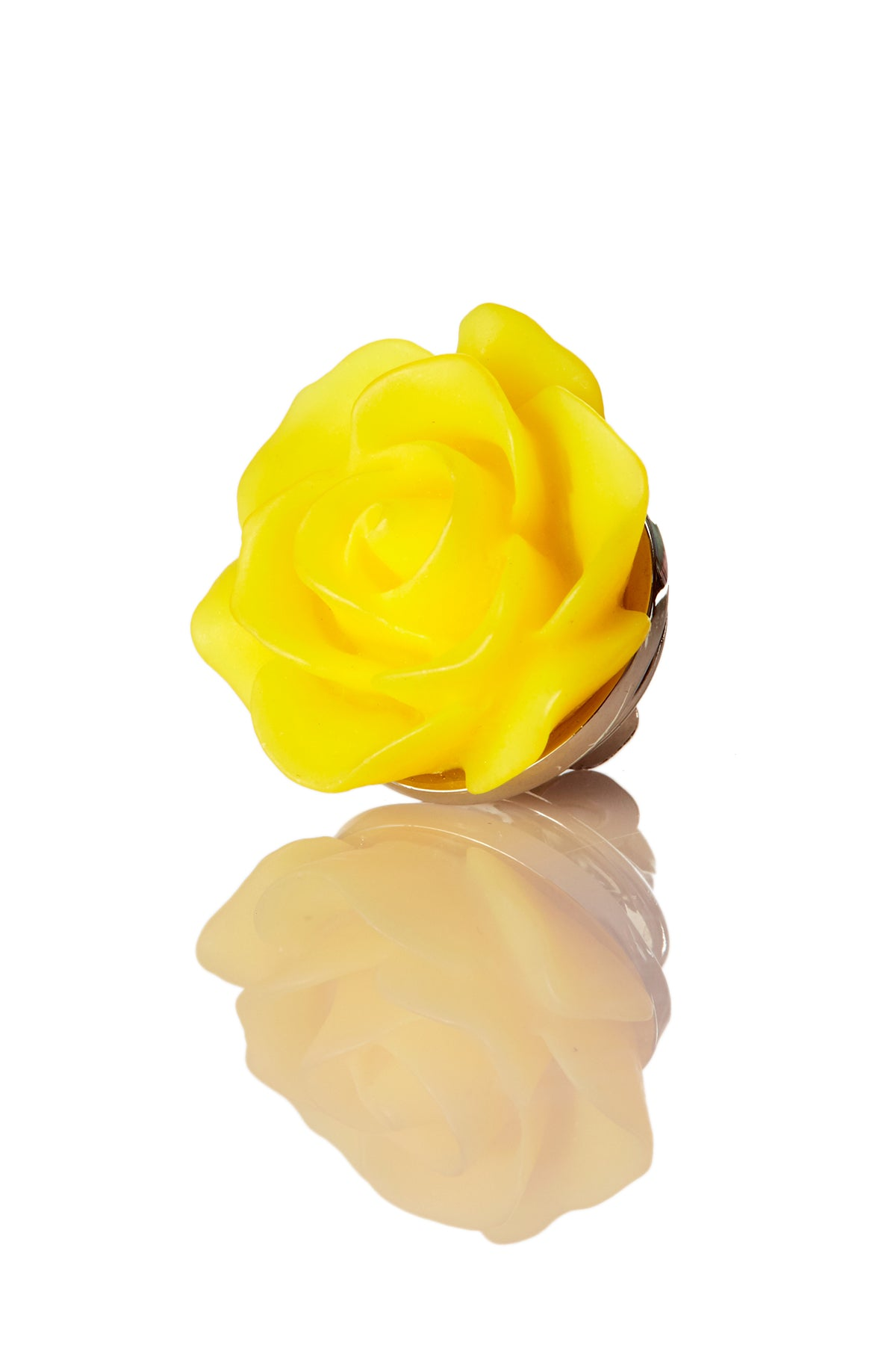 David August Open Rose Yellow Lapel Pin
