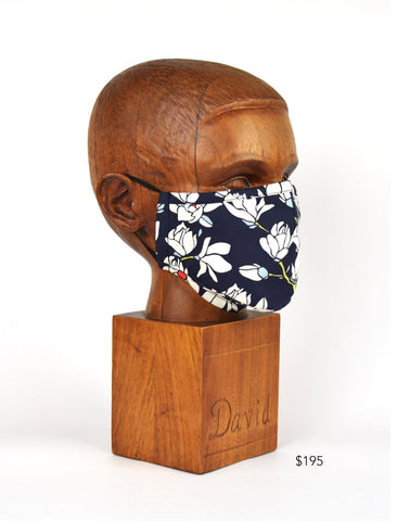 Premium Navy with Grey Subtle Check Cloth Face Mask - FM14