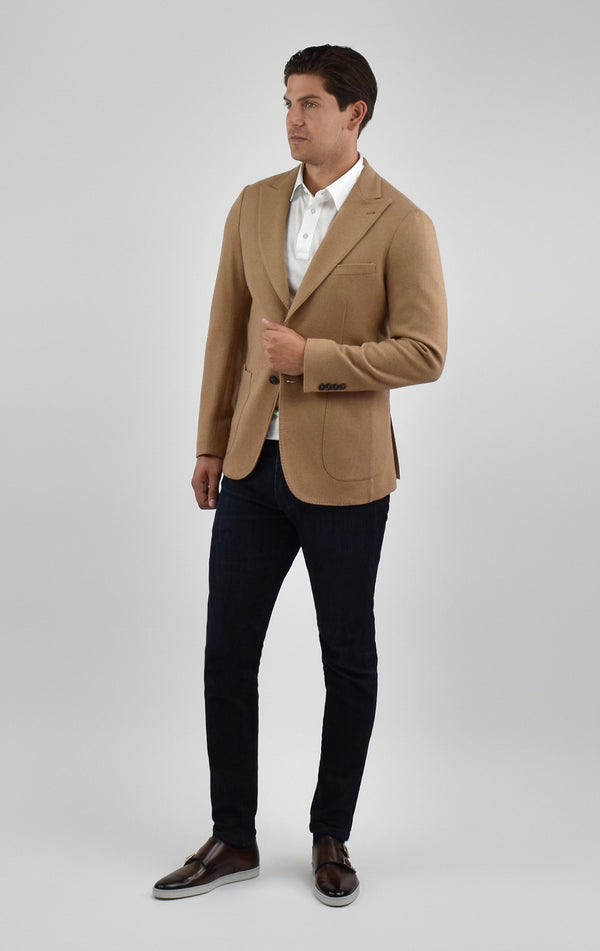 Camel Hair Knit Blazer in Camel
