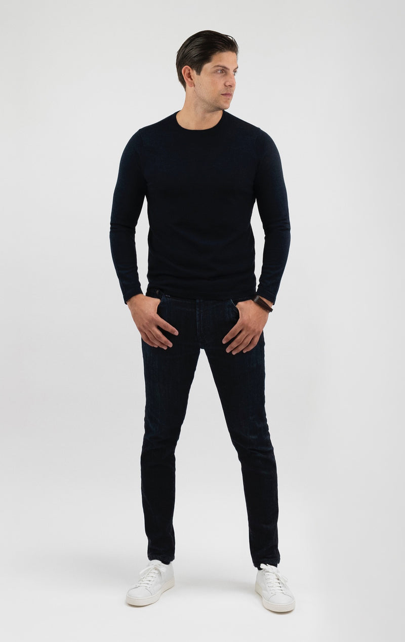 Extra Fine Merino Wool Crewneck Sweater in Jet Black