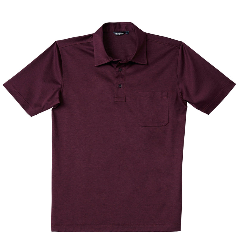 Luxury Mercerized Cotton Polo in Heather Burgundy