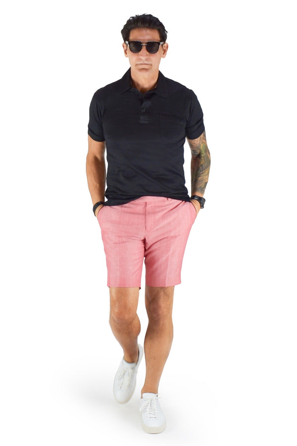 David August Slim Fit Coral Cotton Linen Shorts - Cut-to-Order