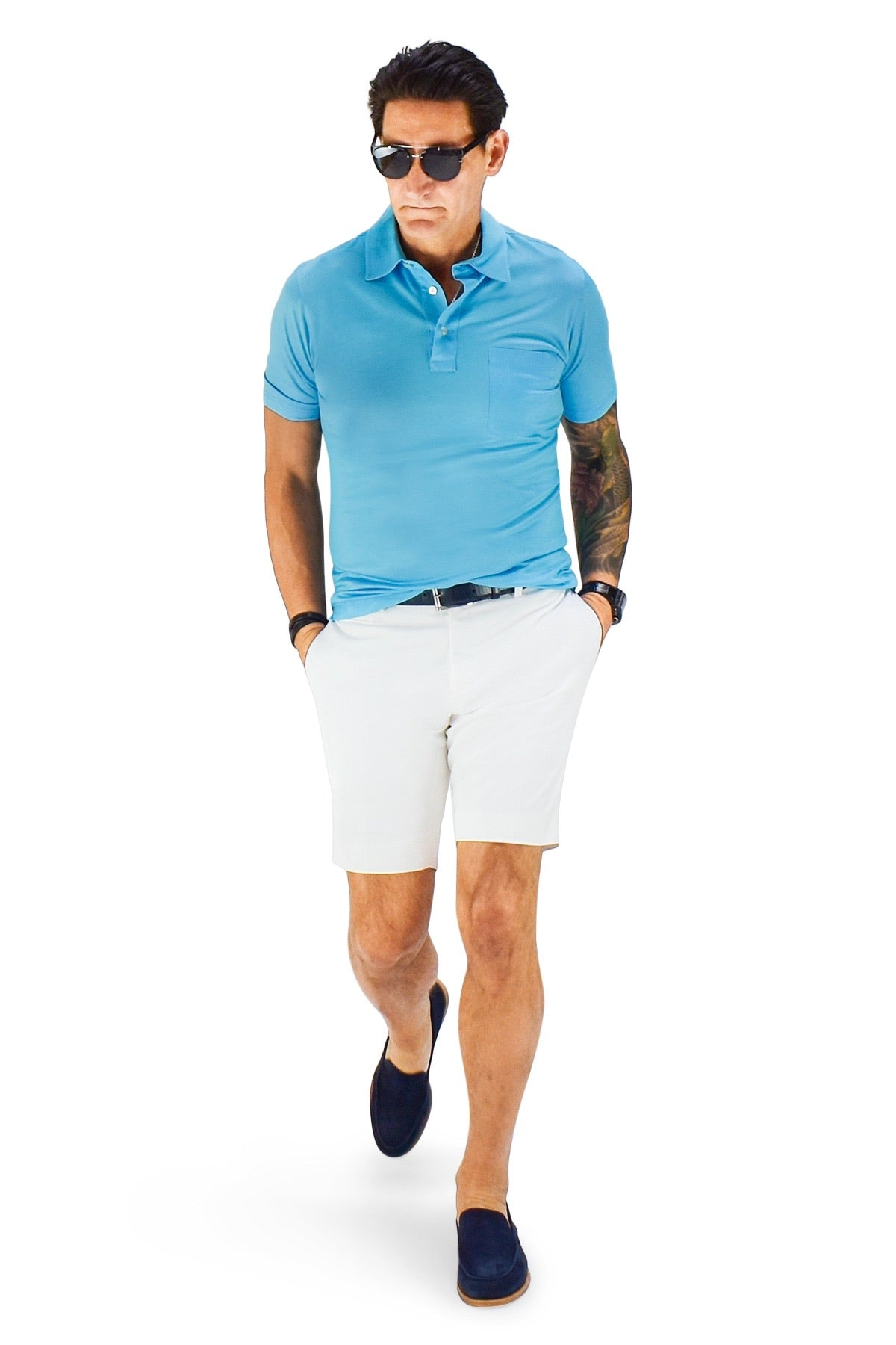 David August Slim Fit White Cotton Twill Shorts - Cut-to-Order
