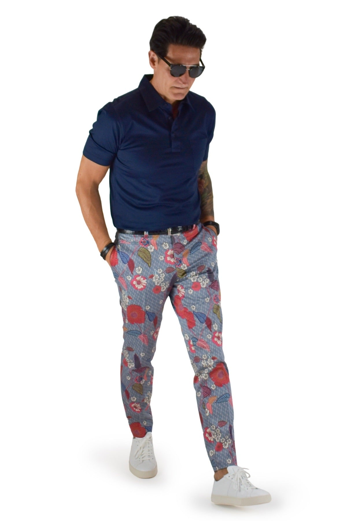 David August Slim Fit Tapered Navy with Multi-Color Floral Leaf Pattern Cotton Trousers - Cut-to-Order