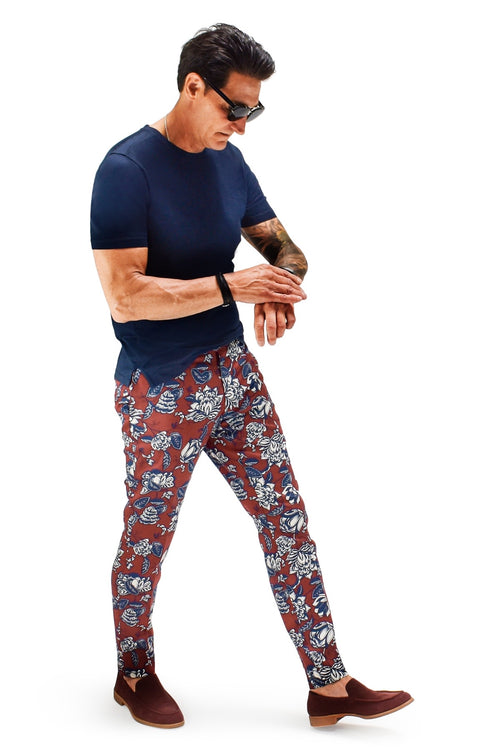 David August Slim Fit Tapered Crimson with Blue & White Floral Cotton Trousers - Cut-to-Order