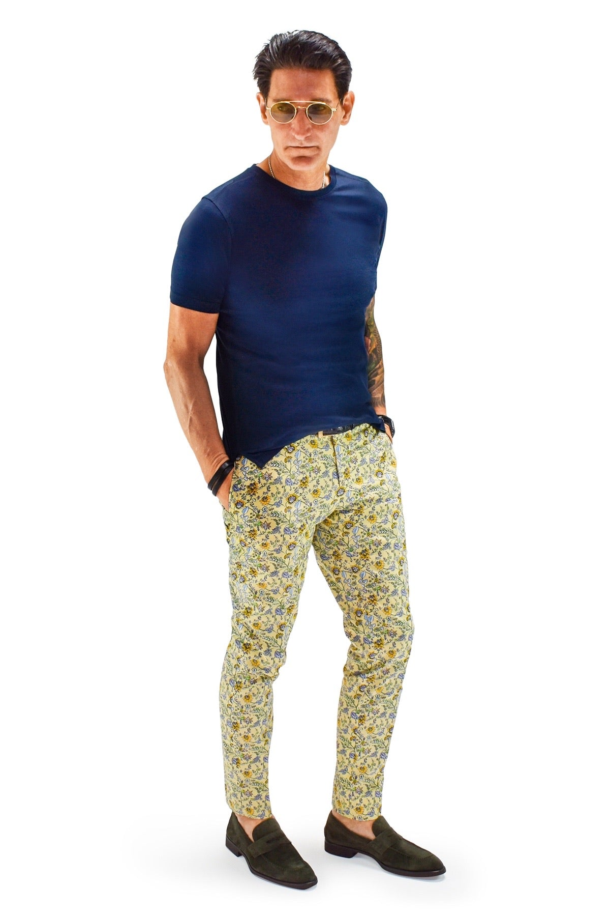 David August Slim Fit Tapered Yellow With Blue Gold And White Floral Pattern Cotton Trousers - Cut-to-Order