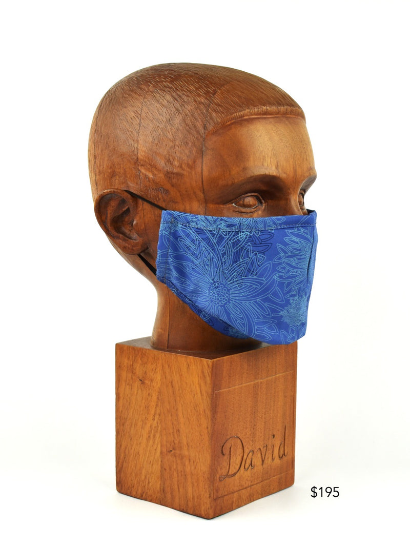 Premium Blue Abstract Floral Cloth Face Mask - FM10