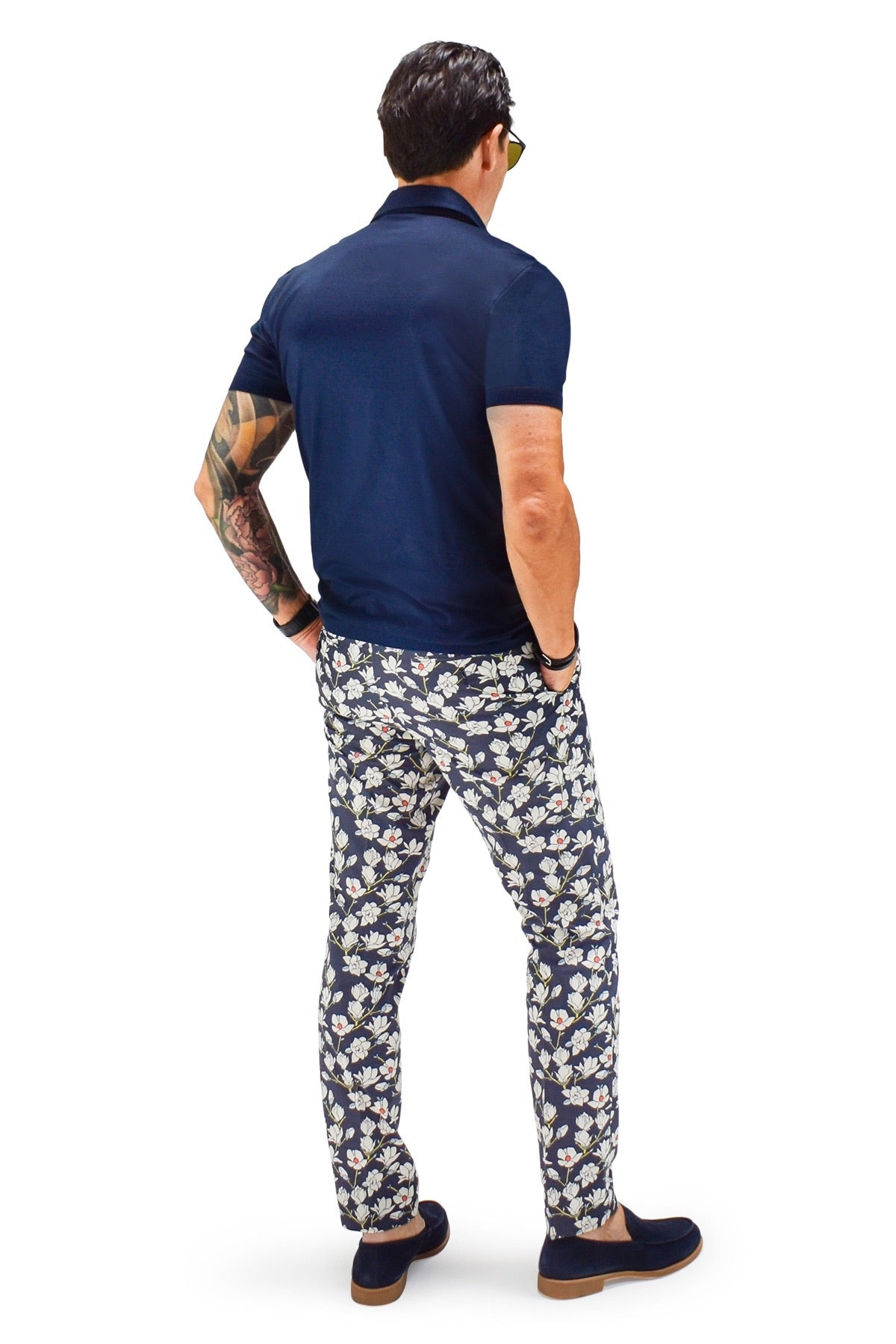 David August Slim Fit Tapered Navy With White Floral Pattern Cotton Trousers - Cut-to-Order
