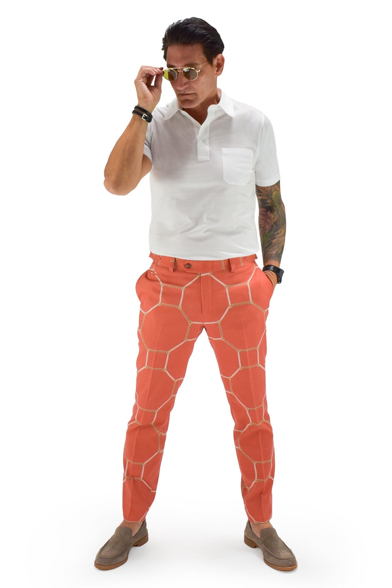 David August Slim Fit Tapered Coral with Octagon Rope and Chain Design Cotton Trousers - Cut-to-Order