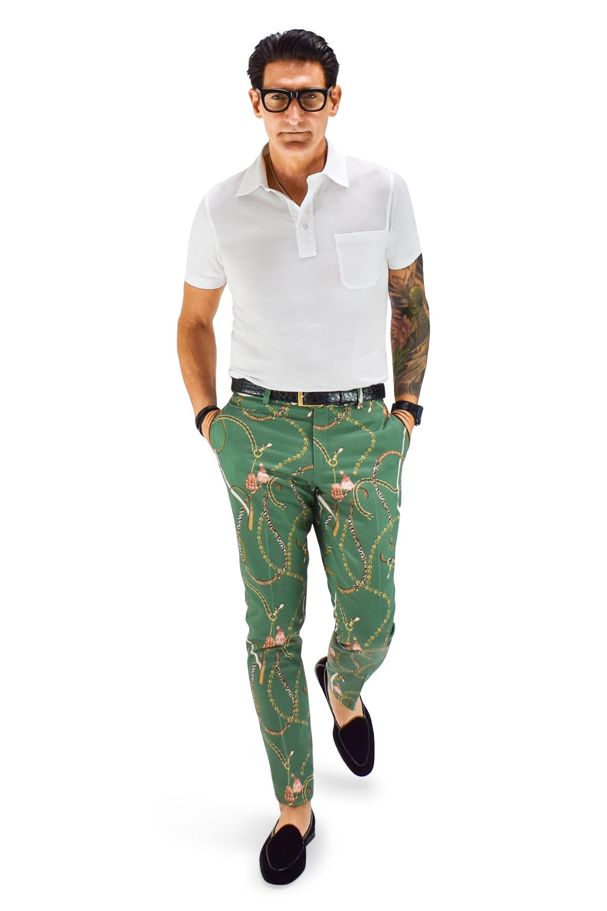 David August Slim Fit Tapered Green with Jewel and Tassel Print Cotton Trousers - Cut-to-Order
