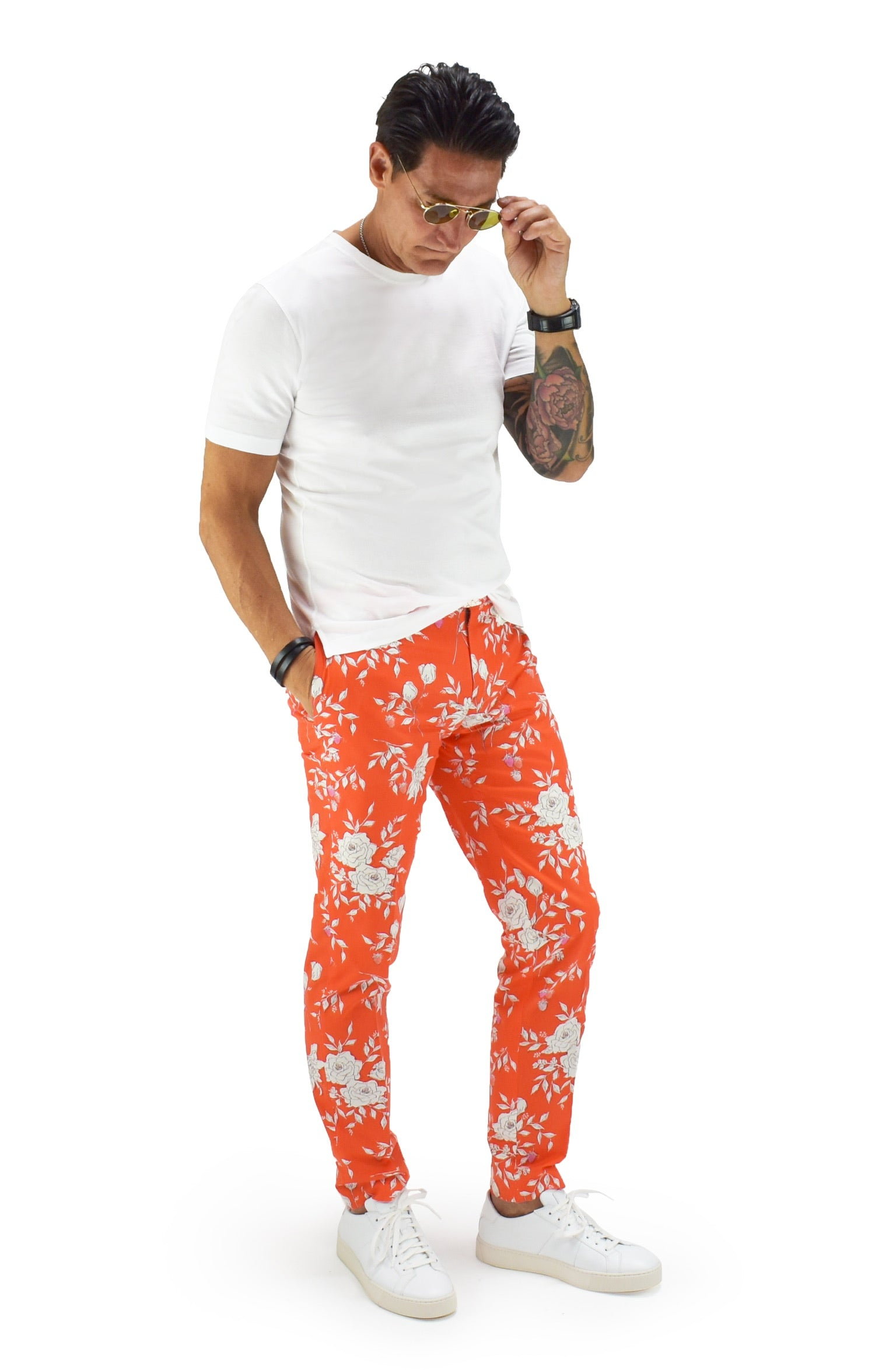 David August Slim Fit Tapered Orange with White Floral Print Cotton Trousers - Cut-to-Order