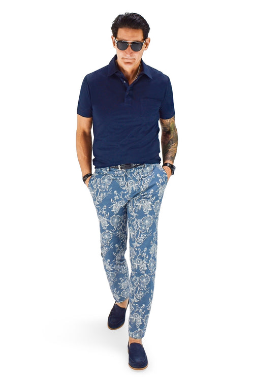David August Slim Fit Tapered Blue Poppy Print Cotton Trousers - Cut-to-Order
