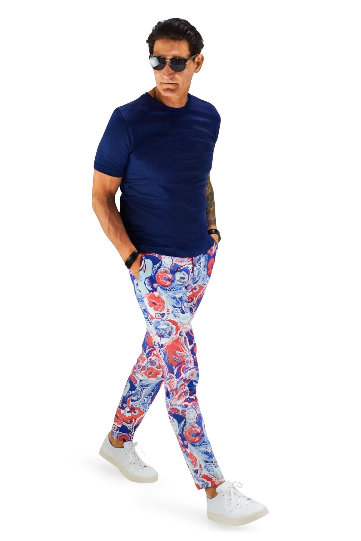 David August Slim Fit Tapered Royal Blue, Red And White Floral Print Cotton Trousers - Cut-to-Order
