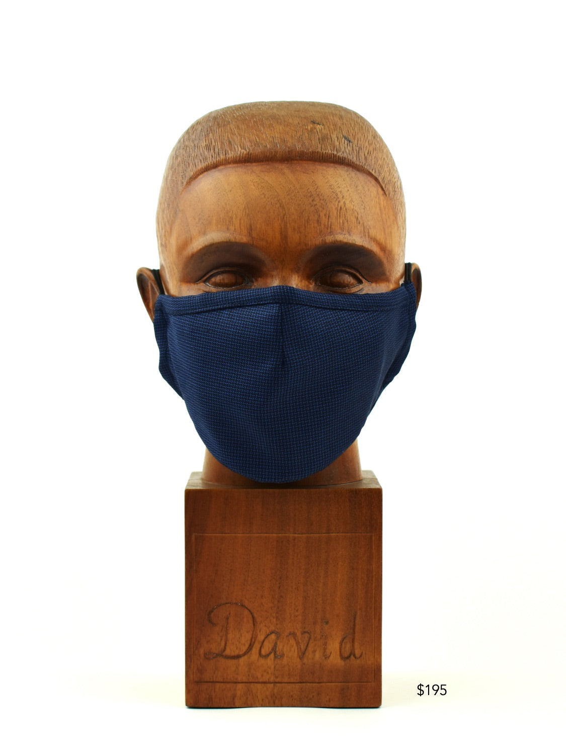 Premium Navy and Blue Basket Weave Cloth Face Mask - FM29