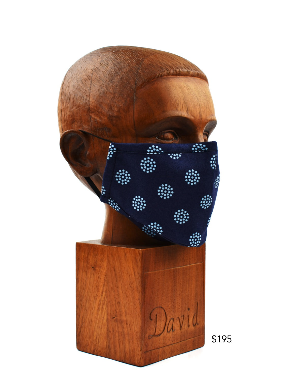 Premium Navy with Blue Dot Cloth Face Mask - FM36