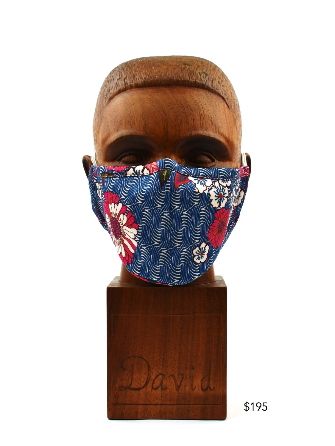 Premium Blue Wave with Pink Floral Cloth Face Mask - FM34