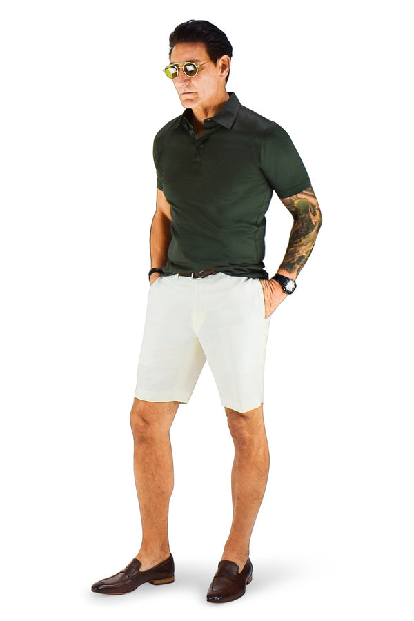David August Slim Fit Off White Summer Wool Linen Shorts - Cut-to-Order