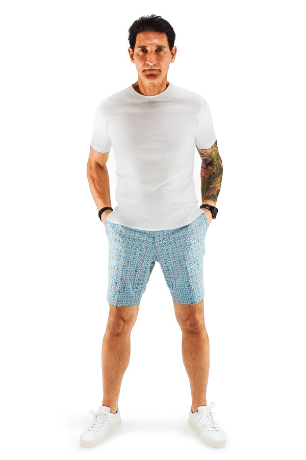 David August Slim Fit Aqua Blue & White Geometric Shorts - Cut-to-Order