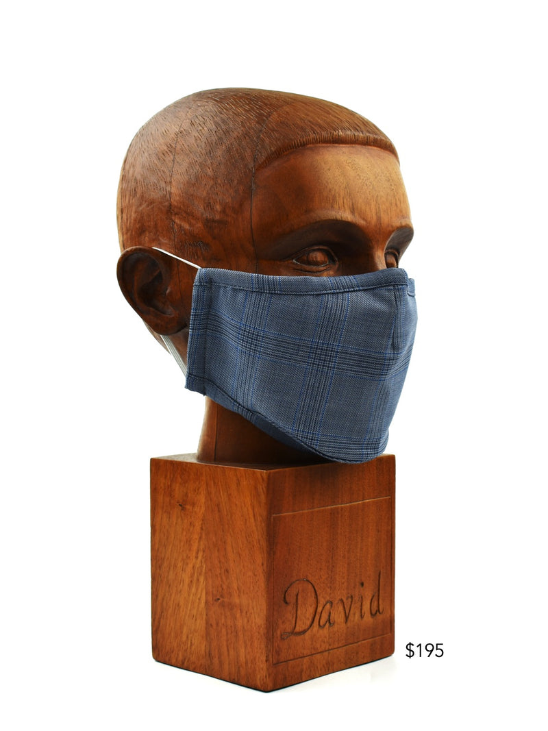 Premium Blue and Navy Window-Plaid Cloth Face Mask - FM33