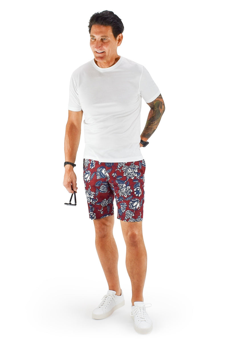 David August Slim Fit Crimson Blue & White Floral Shorts - Cut-to-Order
