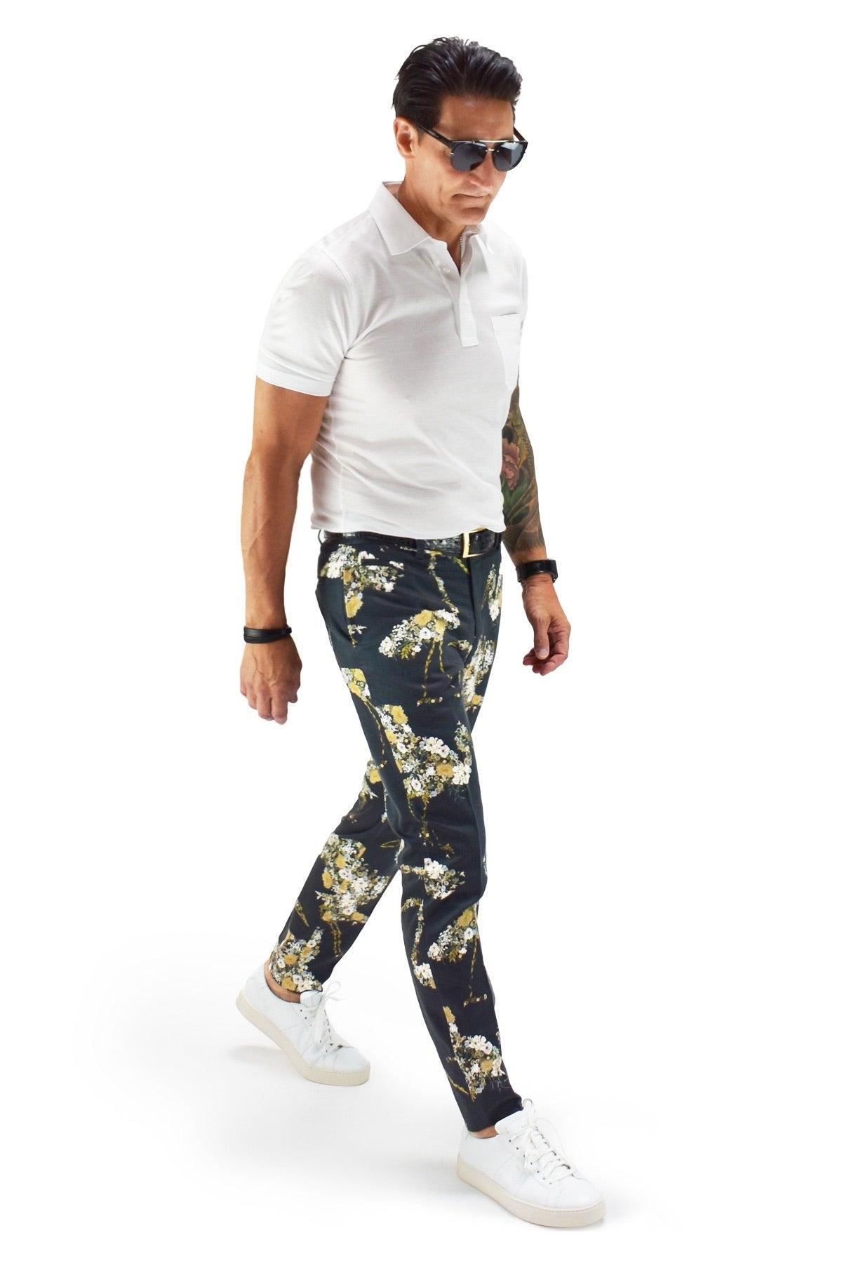 David August Slim Fit Tapered Black with Floral Crane Pattern Cotton Trousers - Cut-to-Order