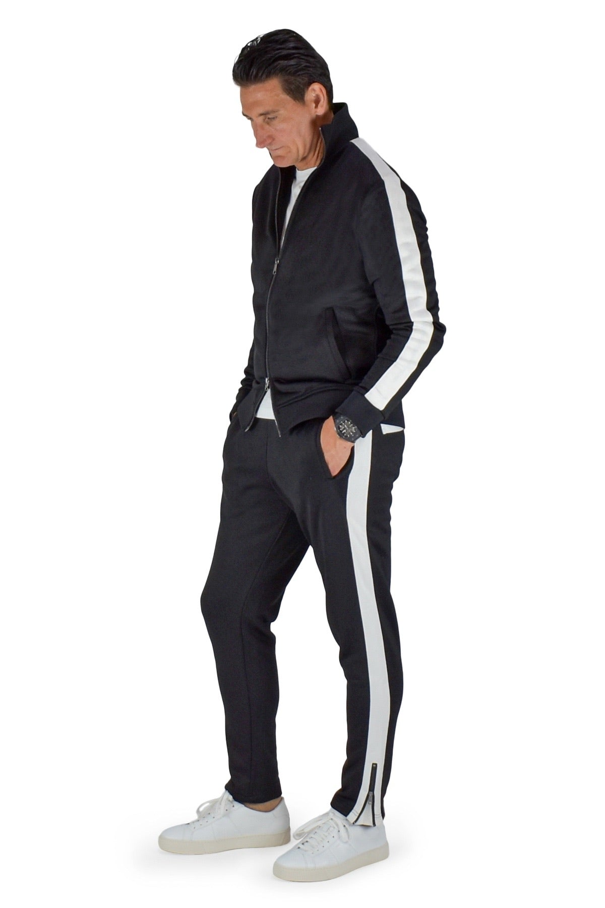 David August Tracksuit in Black with White Trim