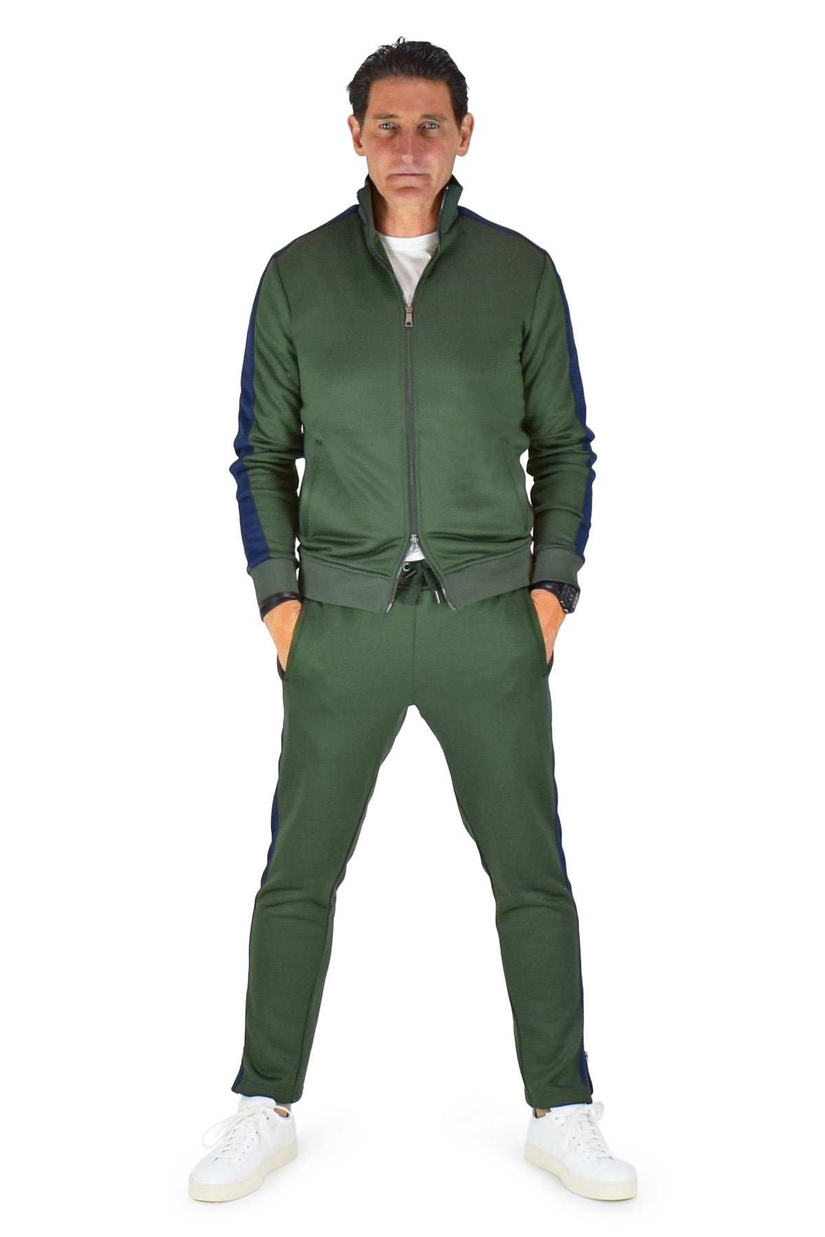 David August Tracksuit in Green with Navy Trim