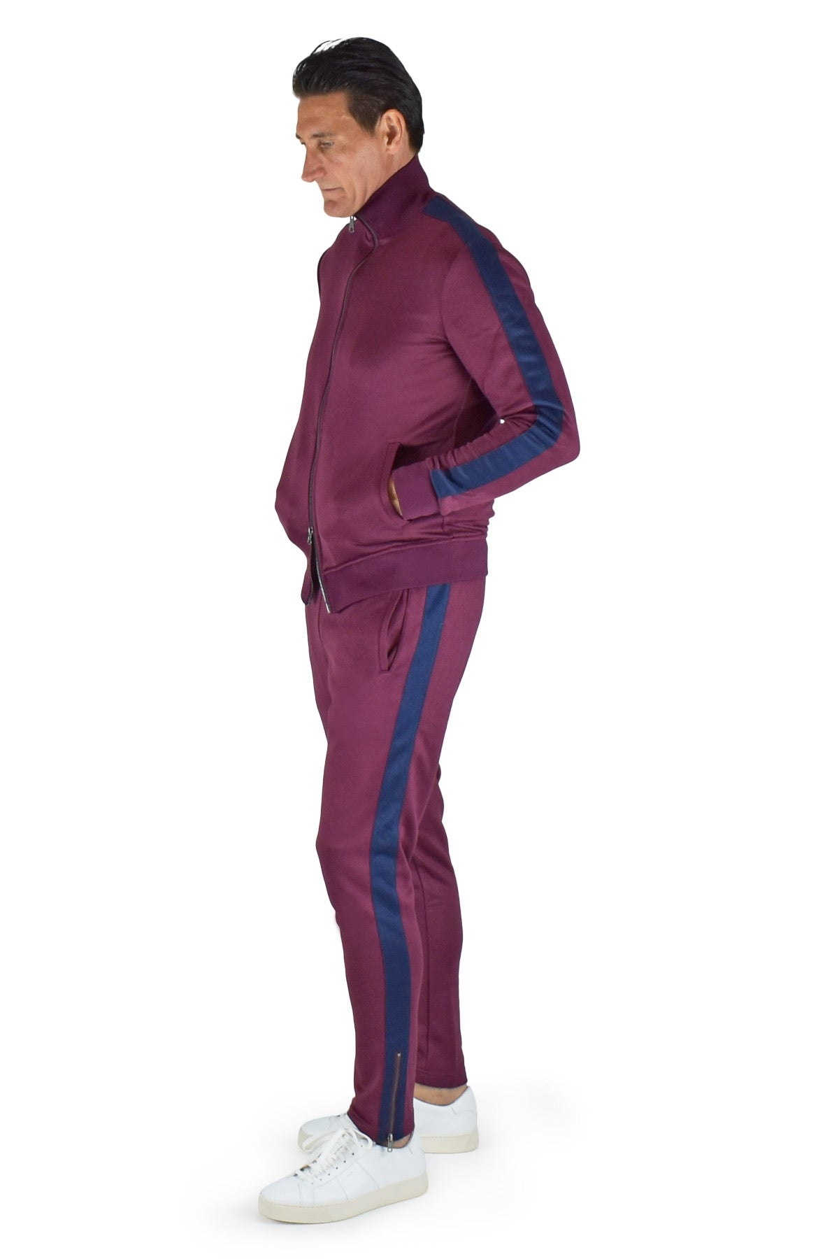David August Tracksuit in Burgundy with Navy Trim