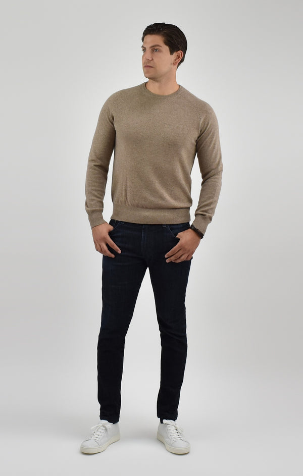 Cashmere Crewneck Sweater in Almond