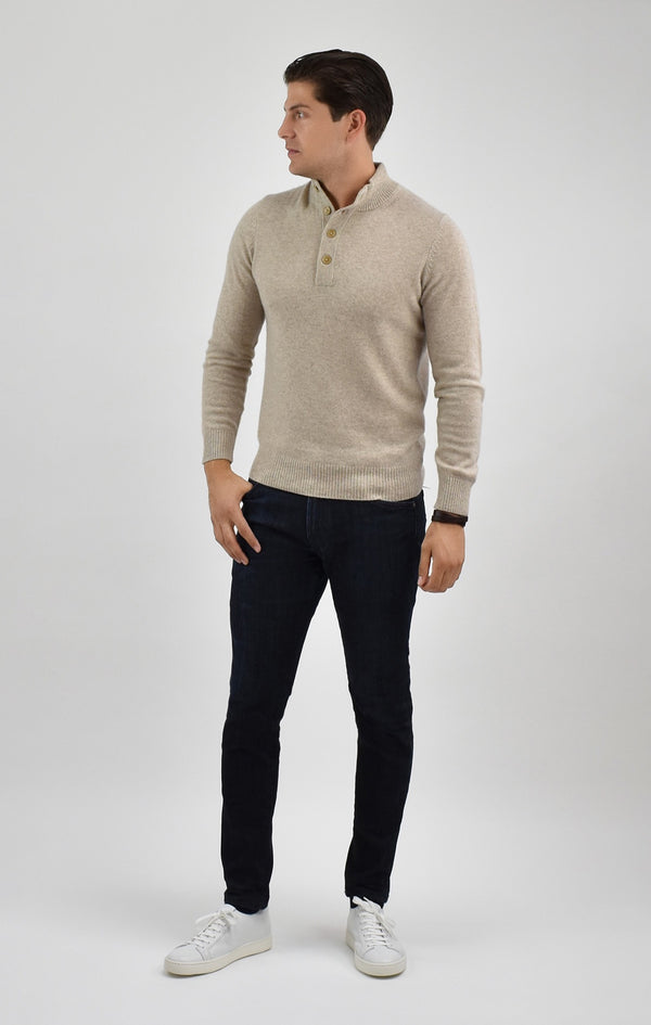 Cashmere Quarter Button Mock Neck Sweater in Wheat