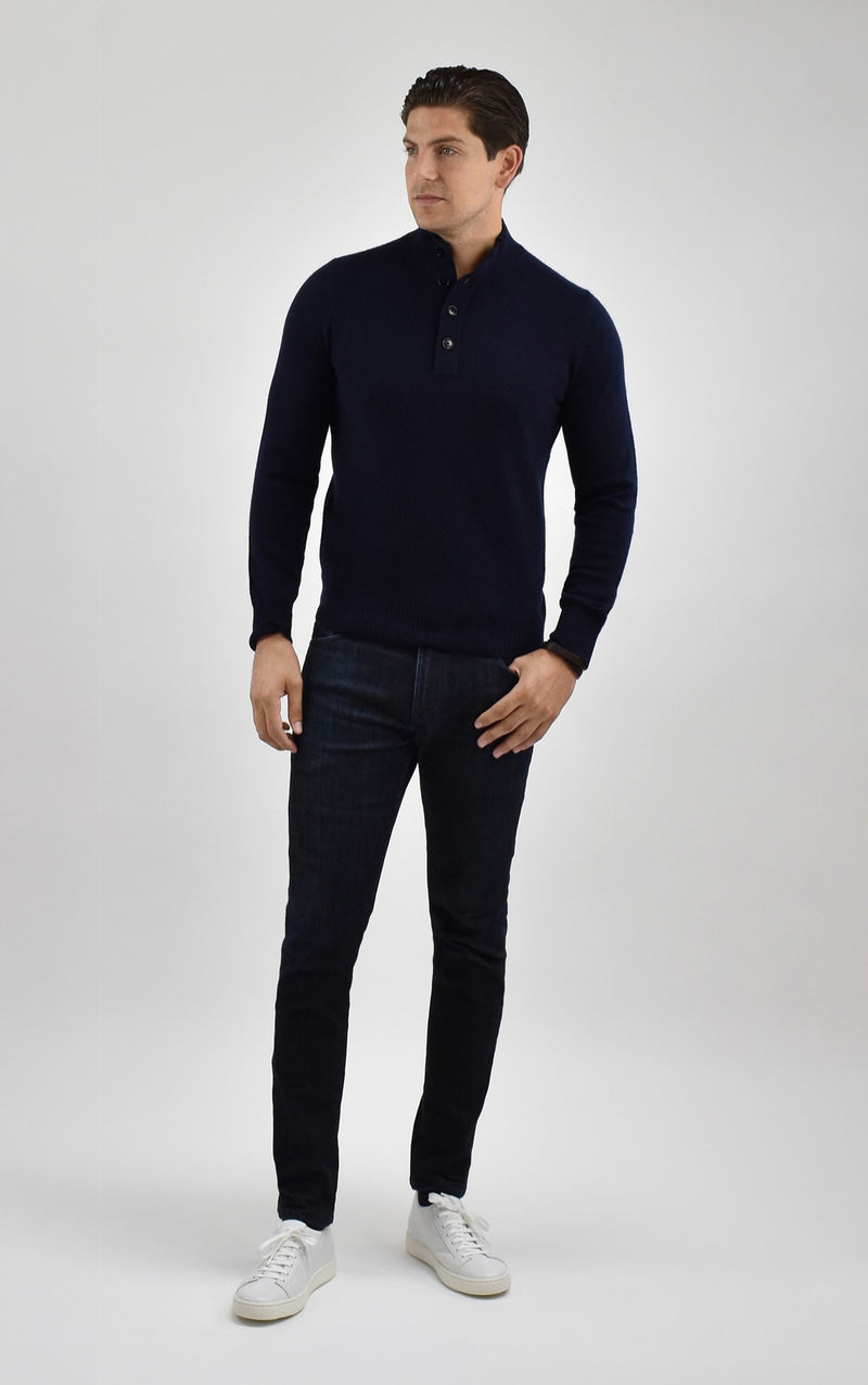 Cashmere Quarter Button Mock Neck Sweater in Midnight Navy