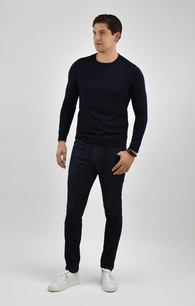 Extra Fine Merino Wool Crewneck Sweater in Midnight Moul