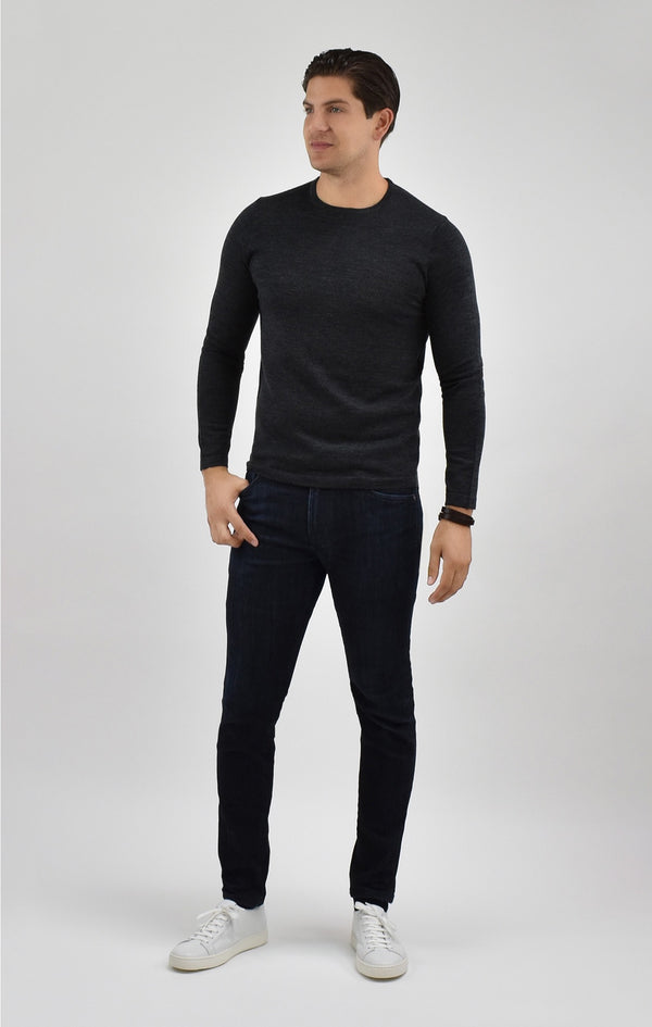 Extra Fine Merino Wool Crewneck Sweater in Charcoal