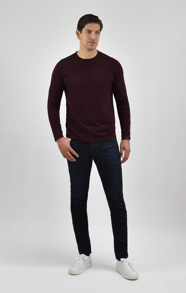 Extra Fine Merino Wool Crewneck Sweater in Burgundy