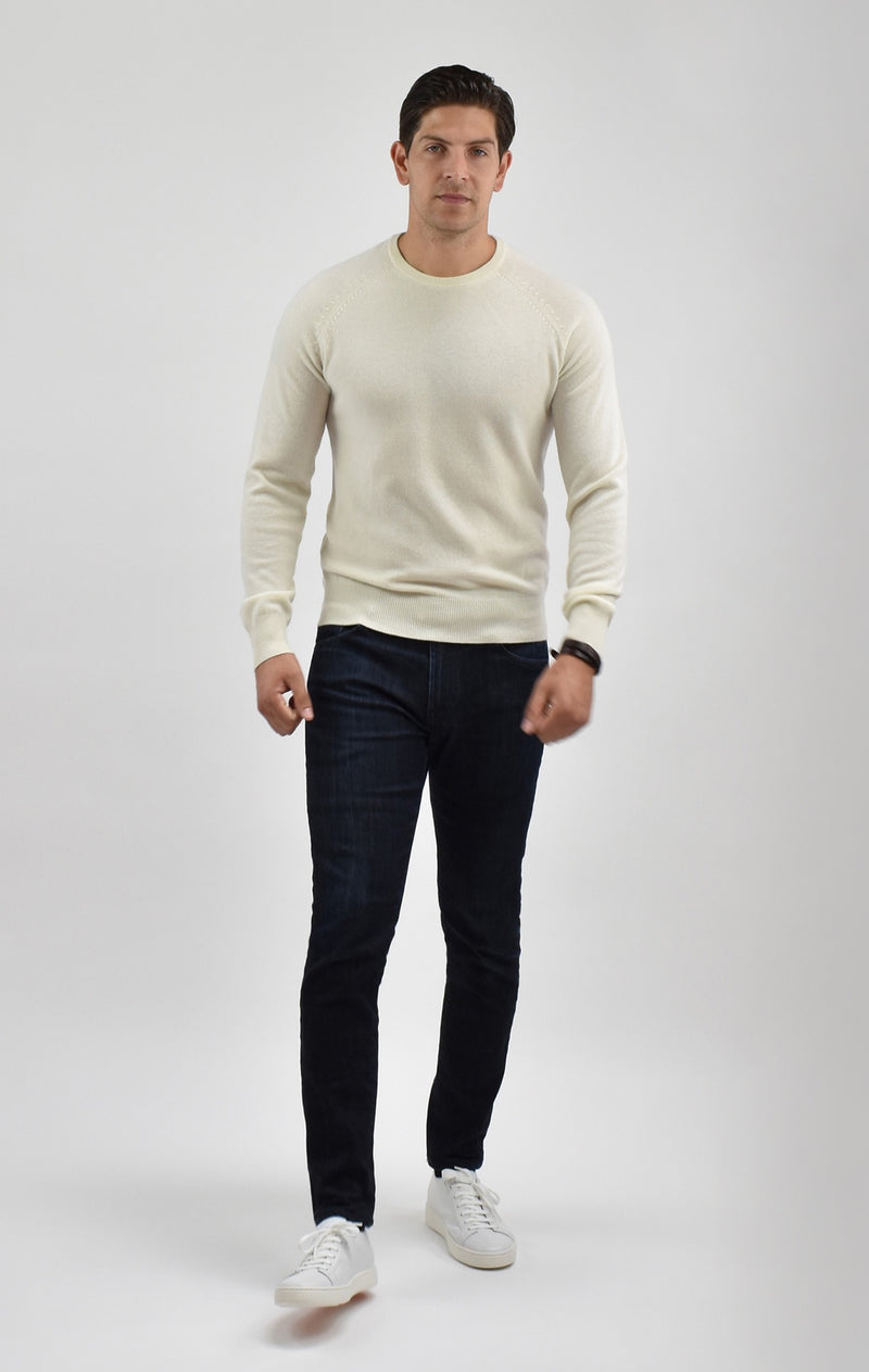 Cashmere Crewneck Sweater in Eggshell