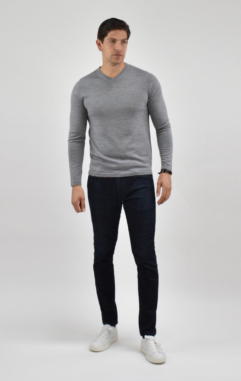 Fine Merino Wool V-Neck Sweater in Grey Melange
